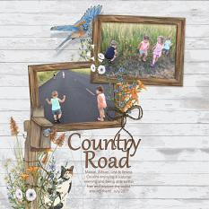 Country Road layout using Barn Cats Embellishment Mini by Angela Blanchard