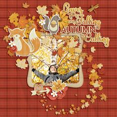 """Autumn is Calling"" digital scrapbook layout by Darryl Beers"