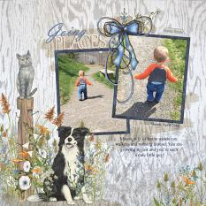 Going Places layout using Farm Dogs Embellishment Mini by Angela Blanchard