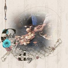 """Catch of the Day"" digital scrapbook layout by Marie Hoorne"