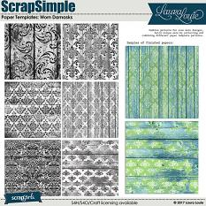 ScrapSimple Paper Templates: Worn Damasks