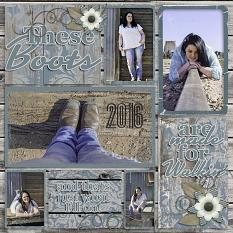 """These Boots"" digital scrapbook layout by Vikki Lamar"