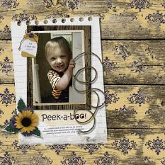 """Peek-a-boo"" digital scrapbook layout by Sue Maravelas"