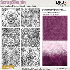 ScrapSimple Paper Templates: Distressed Damask Overlays • Set 03 | ScrapGirls.com