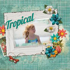 Tropical digital scrapbooking layout featuring My Journal Collections