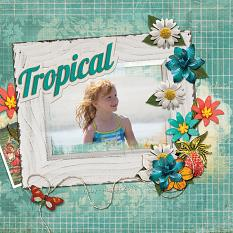 """Tropical"" digital scrapbooking layout by Ginny Whitcomb"