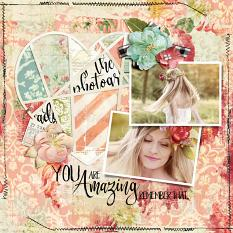 Scrapbook layout featuring Everyday Stories Word Art Mini
