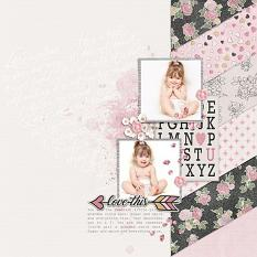 """""""Love This"""" digital scrapbook layout by Judy Webster"""