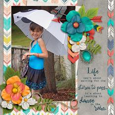 """""""Dance in the Rain"""" layout by Laura Louie"""