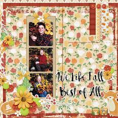 """""""We Like Fall"""" digital scrapbook layout by Andrea Hutton"""