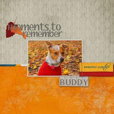 """Moments to Remember"" digital scrapbook layout features Finally Fall Alpha Word Art Biggie"
