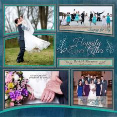 """Happily Ever After"" digital scrapbook layout features Happily Word Art Mini"