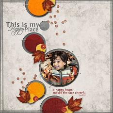 """Happy Place"" digital scrapbook layout features Happily Paper"
