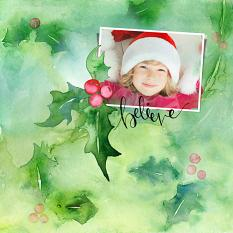 Layout created with Watercolor Christmas Layer Styles