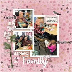 """Bingo with the Family"" digital scrapbook layout by Sue Maravelas"