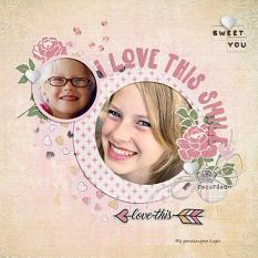 """""""I Love This Smile"""" digital scrapbook layout by Sondra Cook"""