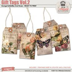 Gift Tags Vol2 Grunge Butterflies And Roses by On A Whimsical Adventure