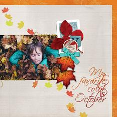"""My favorite color is October"" digital scrapbook layout features Value Pack: Finally Fall"