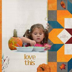 """Love This"" digital scrapbook layout showcases Value Pack: Finally Fall"
