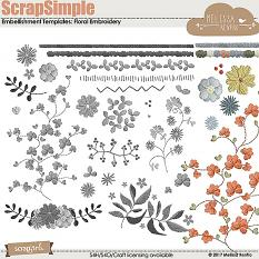 ScrapSimple Embellishment Templates: Floral Embroidery