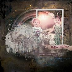 layout using  Hello October Collection by Florju designs