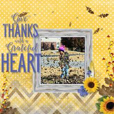 """Give Thanks"" digital scrapbook layout by Marie Hoorne"