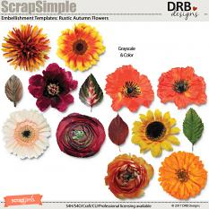 ScrapSimple Embellishment Templates: Rustic Autumn Flowers by DRB Designs | ScrapGirls.com