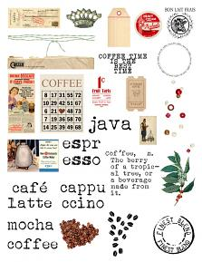 Coffee Break Collection Mini Embelliashment sheet by Aftermidnight Design