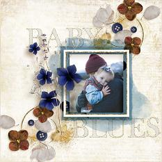 """Baby Blues"" #digitalscrapbooking layout idea by AFT Deisgns - Amanda Fraijo-Tobin using Found Foliage 1 Cluster Style digiscrap embellishments"
