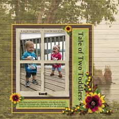 """Tale of Two Toddlers"" digital scrapbook layout by Sue Maravelas"