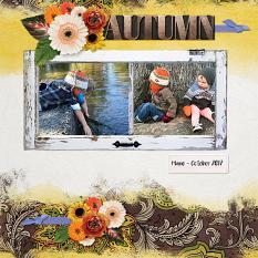 """Autumn"" digital scrapbook layout by Andrea Hutton"