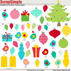 Christmas happy Embellishment Templates Clip art