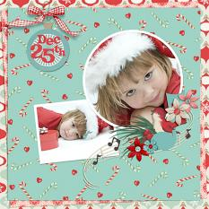 Scrapbook page using Merry Mint Custom Layer Styles