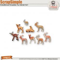 ScrapSimple Embellishment Templates: Toy Animals Vol1 by On A Whimsical Adventure