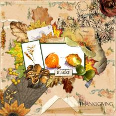 Harvest layout by Marie Orsini was created with Vintage Flower Paper Mini and Thanks Collection Biggie