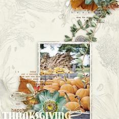 """Happy Thanksgiving"" #digitalscrapbooking layout by AFT Designs - Amanda Fraijo-Tobin using Soft Harvest Clusters #fall #scrapbook #memorybook"
