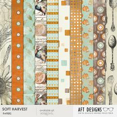 "Printable Digital Scrapbooking Thanksgiving ""Soft Harvest"" Papers by AFT designs"