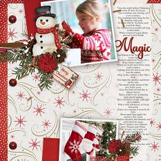 Magic digital scrapbooking layout by Judy Webster featuring December Memories Collections