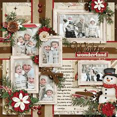 Winter Wonderland digital scrapbooking layout by Ginny Whitcomb featuring December Memories Collections