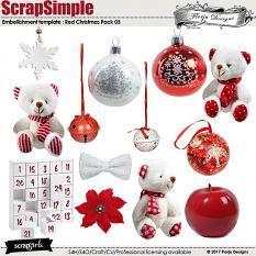 ScrapSimple Embellishment Templates: Red Christmas Pack 03 by florju designs