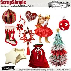 ScrapSimple Embellishment Templates: Red Christmas Pack 04 by florju designs