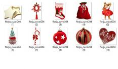 zoom  ScrapSimple Embellishment Templates: Red Christmas Pack 04 by florju designs