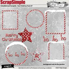 ScrapSimple Embellishment Templates: Red Christmas Pack 07 by florju designs