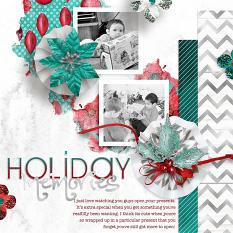 """Holiday Memories"" Digital scrapbooking layout by AFT Designs - Amanda Fraijo-Tobin using Turquoise Holiday Kit"