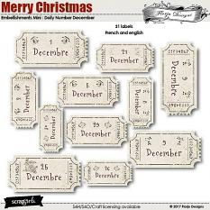 Merry Christmas Embellishment Mini : Daily Number December by florju designs