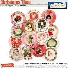 Christmas Time Cupcake Toppers by Aftermidnight Design
