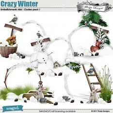Crazy Winter Embellishment Mini: Cluster Pack 1 by florju designs