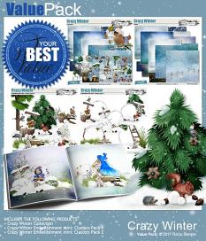 layout using  Crazy Winter Embellishment Mini: Cluster Pack 1 by florju designs