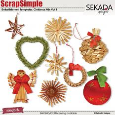 ScrapSimple Embellishment Templates: Christmas Mix Vol 1