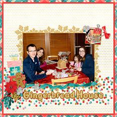 """""""Gingerbread House"""" digital scrapbook layout by April Martell"""